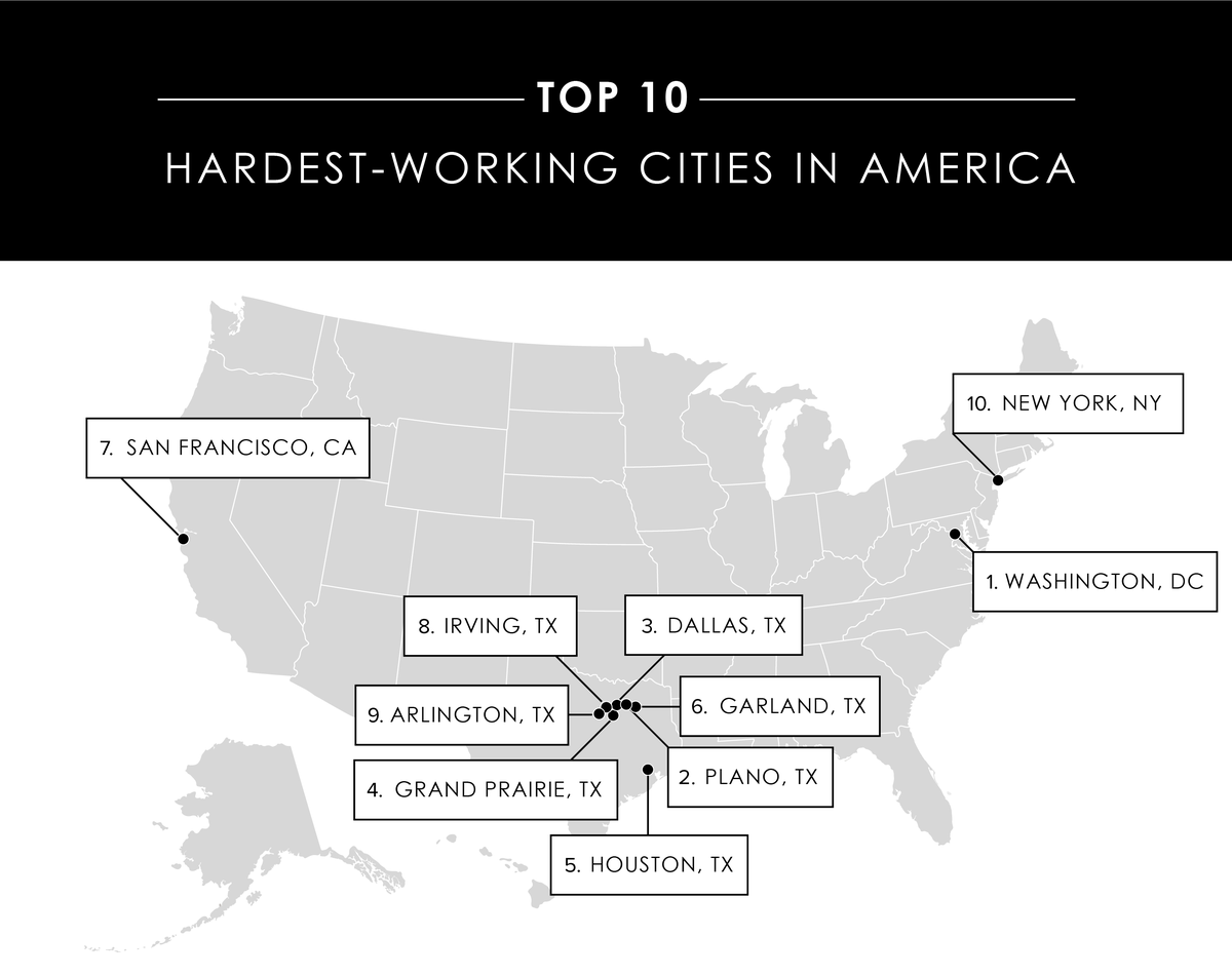Hardest Working Cities in America Map