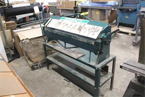 """TENNSMITH MODEL U48 48"""" X 16 GA BENCH TOP APRON BRAKE, S/N 18564, WITH TENNSMITH STEEL STAND, ASSORTED EXTRA FINGERS"""